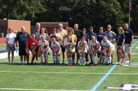 The John Carroll Womens Soccer teams seven seniors before their game against Ohio Wesleyan University on Saturday, Sept. 18