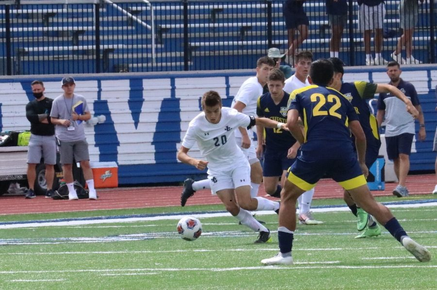 Freshman Nicholas Graeca competing in a game earlier this season for John Carroll University. Graeca scored the game winning goal for the mens soccer team on Saturday, Sept. 25 in a 1-0 victory over the University of Chicago.