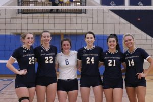 Carleen Ellerbruch, Kailee Herbst, Anna Coughlin, Brooke Hjerpe, Ally Bartolone and Cassi Calamunci before John Carrolls match on Saturday, Oct. 23. The senior class was honored prior to Saturday afternoons game against the Marietta Pioneers.