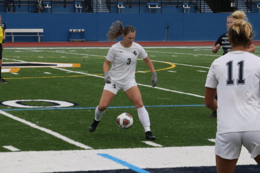 Grace Monnin on Saturday, Oct. 23 playing against Marietta College. Monnin scored one of the Blue Streaks goals in their 3-1 victory.